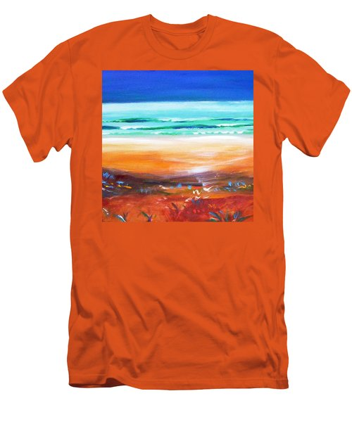 Men's T-Shirt (Slim Fit) featuring the painting Beach Joy by Winsome Gunning