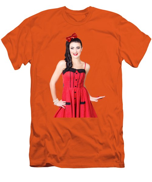 Beautiful Pinup Girl With Pretty Smile Men's T-Shirt (Slim Fit) by Jorgo Photography - Wall Art Gallery