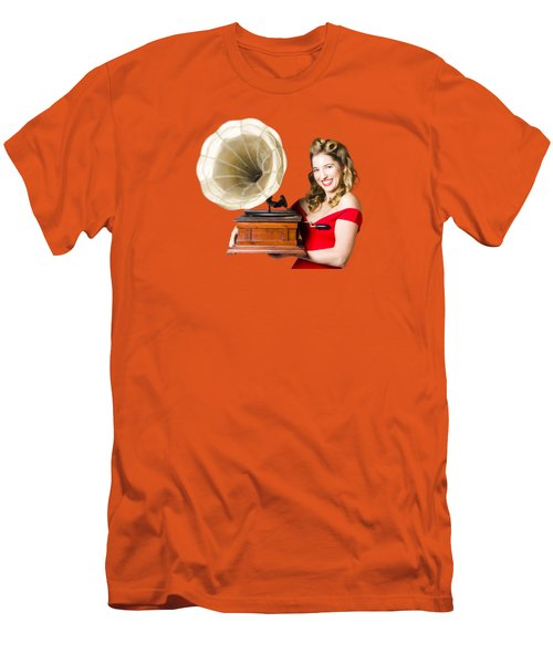 Beautiful Woman With Gramophone Isolated On White Men's T-Shirt (Slim Fit) by Jorgo Photography - Wall Art Gallery
