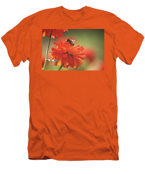 Men's T-Shirt (Slim Fit) featuring the photograph Bee And Flower Iv by Donna G Smith