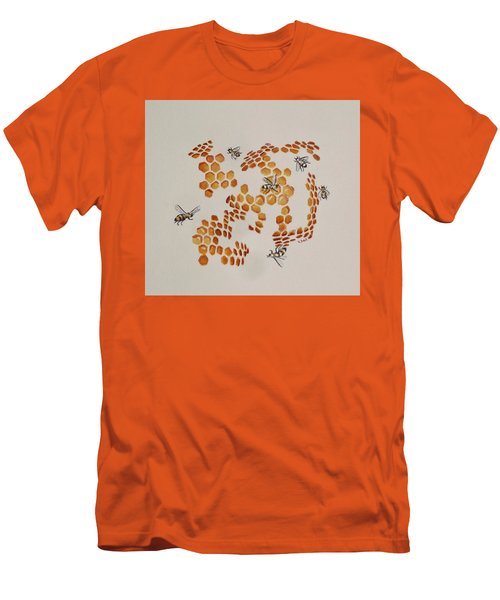 Men's T-Shirt (Slim Fit) featuring the painting Bee Hive # 3 by Katherine Young-Beck