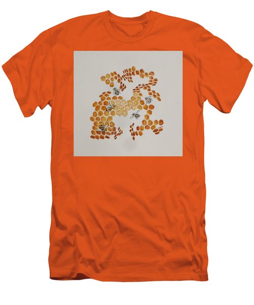 Men's T-Shirt (Slim Fit) featuring the painting Bee Hive # 5 by Katherine Young-Beck