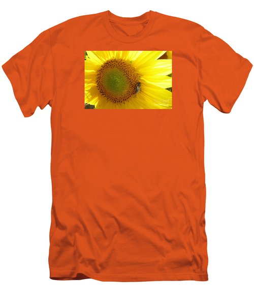 Men's T-Shirt (Slim Fit) featuring the photograph Bee On Sunflower by Jean Bernard Roussilhe