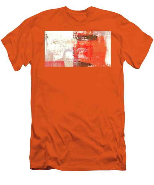 Behind The Corner - Warm Linear Abstract Painting Men's T-Shirt (Slim Fit) by Modern Art Prints