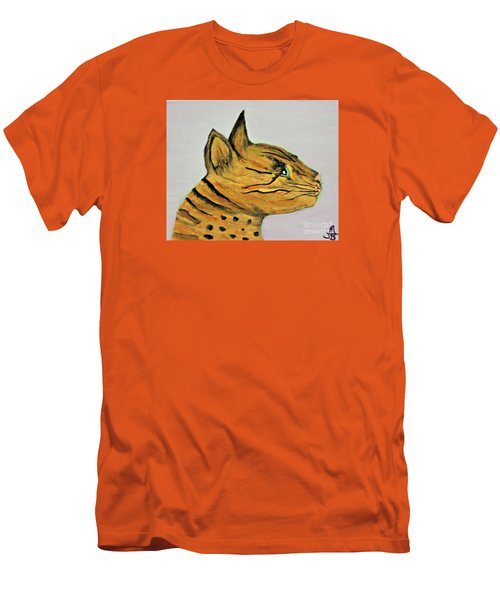 Men's T-Shirt (Slim Fit) featuring the painting Bengal Cat  by Mindy Bench