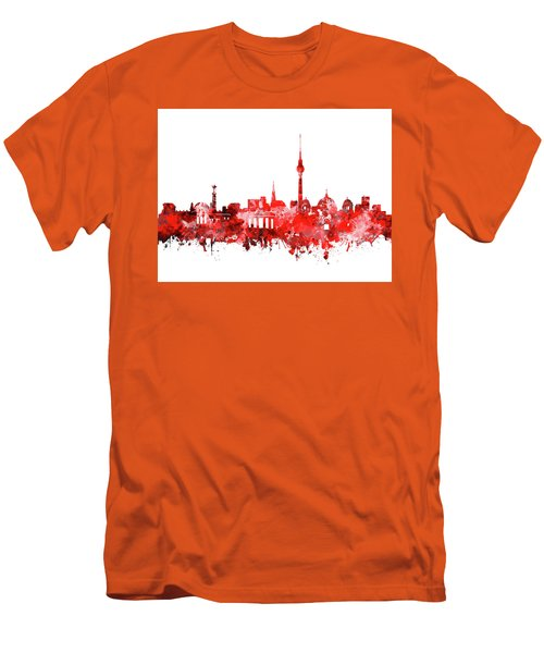 Berlin City Skyline Red Men's T-Shirt (Slim Fit) by Bekim Art