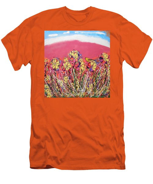 Berry Pink Flower Garden Men's T-Shirt (Athletic Fit)
