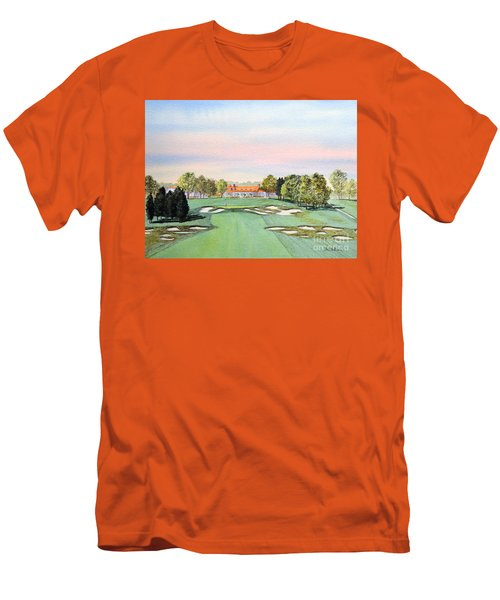 Men's T-Shirt (Athletic Fit) featuring the painting Bethpage State Park Golf Course 18th Hole by Bill Holkham