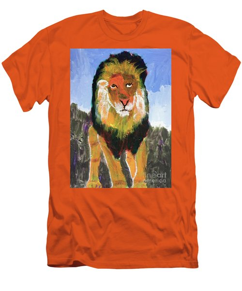Men's T-Shirt (Athletic Fit) featuring the painting Big Lion King by Donald J Ryker III