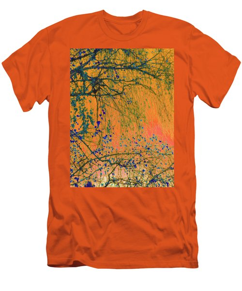 Birch Tree And Orange Sky - Winter Men's T-Shirt (Athletic Fit)