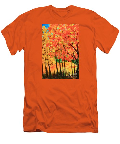 Men's T-Shirt (Slim Fit) featuring the painting Birch Tree /autumn Leaves by Nancy Czejkowski