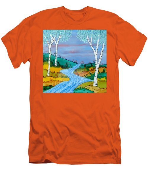 Birch Trees And Stream Men's T-Shirt (Athletic Fit)