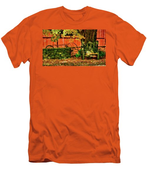 Men's T-Shirt (Athletic Fit) featuring the photograph Birdhouse Chair In Autumn by Jeff Folger