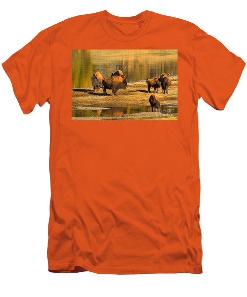 Men's T-Shirt (Slim Fit) featuring the photograph Bison Family Crossing by Adam Jewell