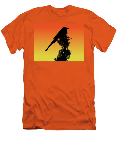 Black-billed Magpie Silhouette At Sunset Men's T-Shirt (Athletic Fit)