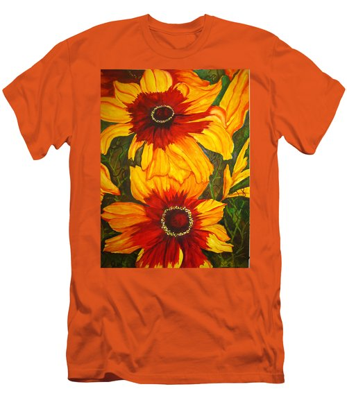 Men's T-Shirt (Slim Fit) featuring the painting Blanket Flower by Lil Taylor