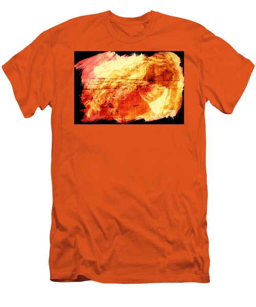 Blonde On Red Fire Men's T-Shirt (Slim Fit) by Andrea Barbieri