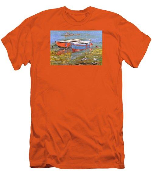 Blue And Orange Men's T-Shirt (Slim Fit) by Bill Holkham