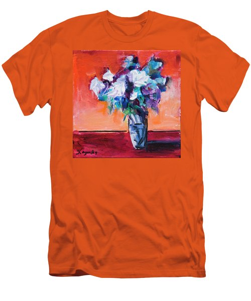 Blue Flowers In A Vase Men's T-Shirt (Athletic Fit)