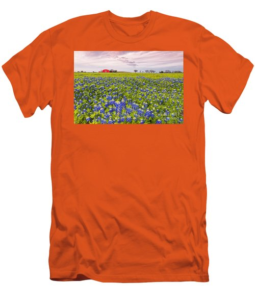 Bluebonnets And Red Barn In Washington County - Chappell Hill - Brenham - Texas Men's T-Shirt (Athletic Fit)