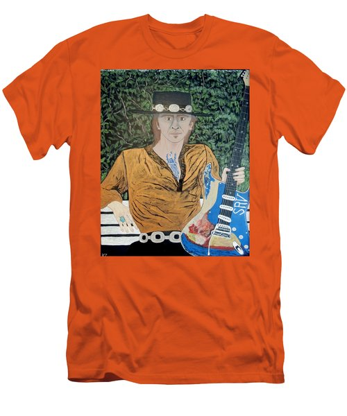 Blues In The Park With Stevie Ray Vaughan. Men's T-Shirt (Slim Fit) by Ken Zabel