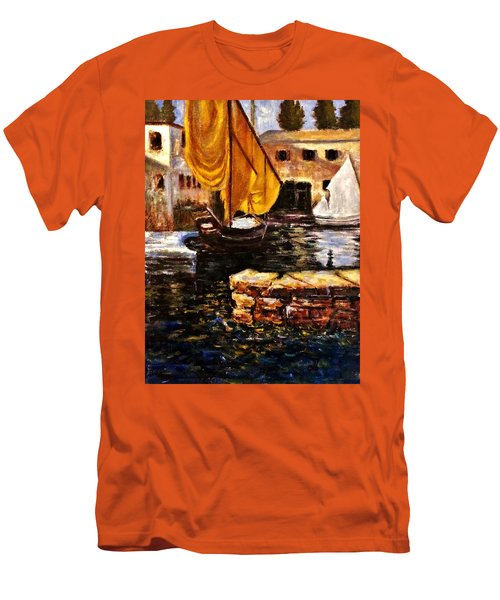 Boat With Golden Sail,san Vigilio  Men's T-Shirt (Slim Fit) by Cristina Mihailescu