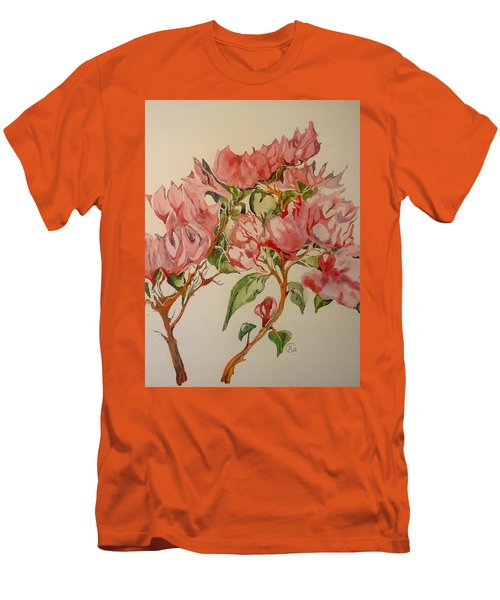 Men's T-Shirt (Slim Fit) featuring the painting Bougainvillea by Iya Carson
