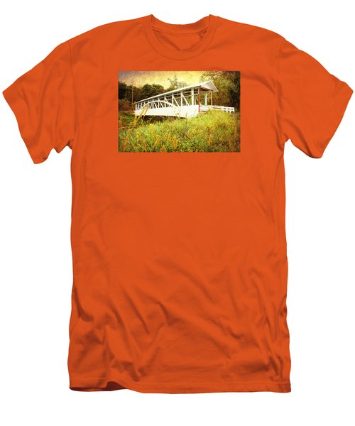 Men's T-Shirt (Slim Fit) featuring the photograph Bowser Covered Bridge by Trina  Ansel