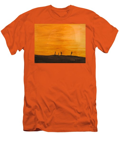 Men's T-Shirt (Slim Fit) featuring the painting Boys At Sunset by Ian  MacDonald