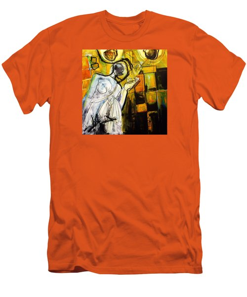 Men's T-Shirt (Slim Fit) featuring the painting Breakfast On Park Road II by Helen Syron