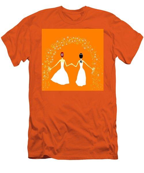 Men's T-Shirt (Slim Fit) featuring the digital art Brides by Barbara Moignard