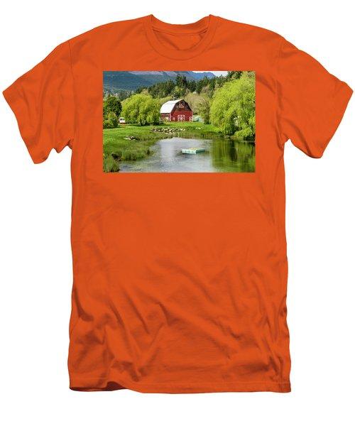 Brinnon Washington Barn By Pond Men's T-Shirt (Slim Fit) by Teri Virbickis