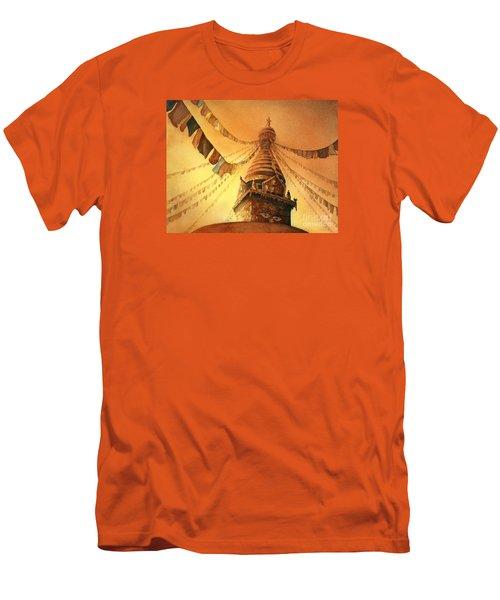 Buddhist Stupa- Nepal Men's T-Shirt (Slim Fit) by Ryan Fox