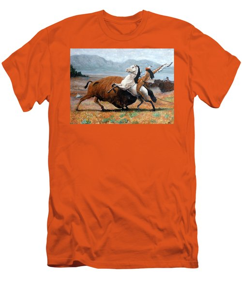 Men's T-Shirt (Athletic Fit) featuring the painting Buffalo Hunt by Tom Roderick