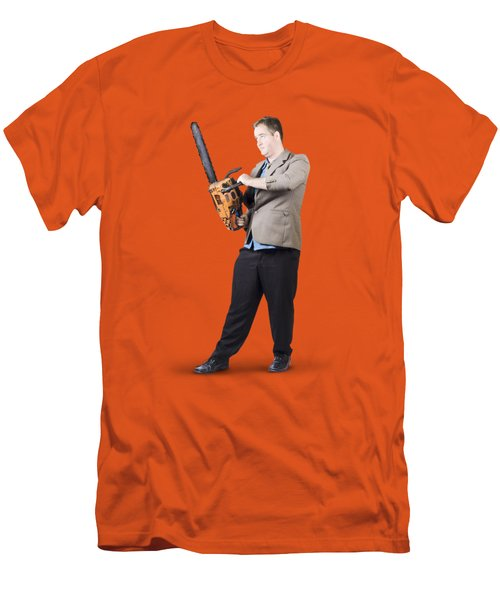 Men's T-Shirt (Slim Fit) featuring the photograph Businessman Holding Portable Chainsaw by Jorgo Photography - Wall Art Gallery