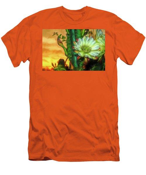 Cactus Flower At Sunrise Men's T-Shirt (Athletic Fit)
