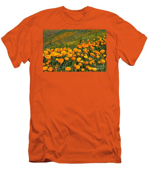 California Golden Poppies And Goldfields Men's T-Shirt (Slim Fit) by Glenn McCarthy