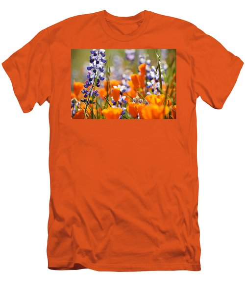 California Poppies And Lupine Men's T-Shirt (Slim Fit) by Kyle Hanson