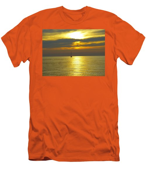 Men's T-Shirt (Slim Fit) featuring the photograph Calm Before Sunset Over Lake Erie by Donald C Morgan
