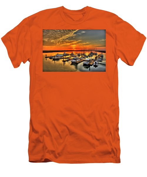 Men's T-Shirt (Athletic Fit) featuring the photograph Calm Waters Bull River Marina Tybee Island Savannah Georgia by Reid Callaway