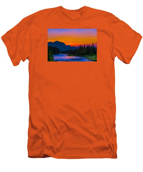 Canadian Rocky Sunset Men's T-Shirt (Slim Fit) by John Roberts