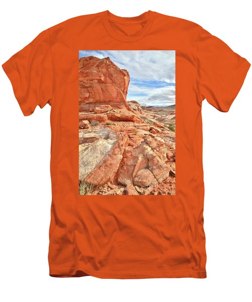 Castle High Above Wash 5 In Valley Of Fire Men's T-Shirt (Slim Fit) by Ray Mathis