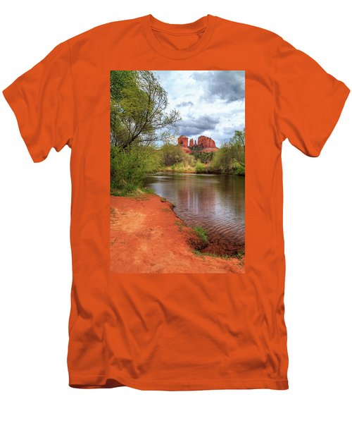 Men's T-Shirt (Slim Fit) featuring the photograph Cathedral Rock From Oak Creek by James Eddy