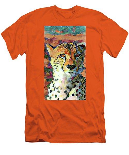 Cheetah Face Men's T-Shirt (Athletic Fit)