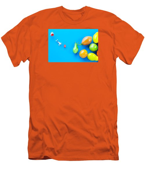 Men's T-Shirt (Slim Fit) featuring the painting Chef Tumbled In Front Of Colorful Tomatoes II Little People On Food by Paul Ge