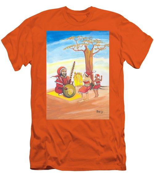 Men's T-Shirt (Slim Fit) featuring the painting Christmas In Senegal by Emmanuel Baliyanga
