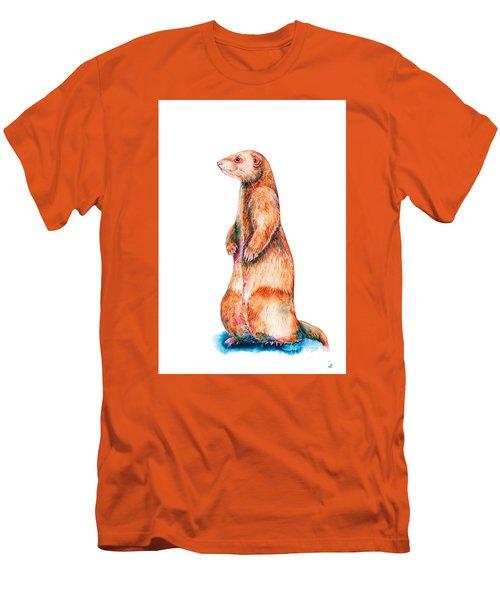 Men's T-Shirt (Slim Fit) featuring the painting Cinnamon Ferret by Zaira Dzhaubaeva