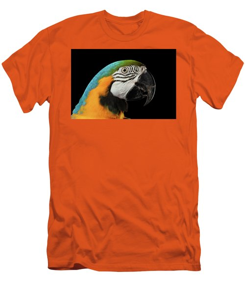 Closeup Portrait Of A Blue And Yellow Macaw Parrot Face Isolated On Black Background Men's T-Shirt (Slim Fit) by Sergey Taran