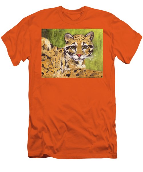 Men's T-Shirt (Athletic Fit) featuring the painting Clouded Cat by Jamie Frier