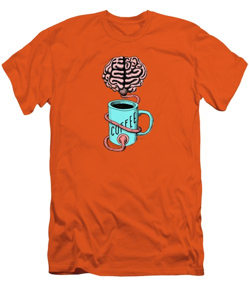 Coffee For The Brain Funny Illustration Men's T-Shirt (Athletic Fit)